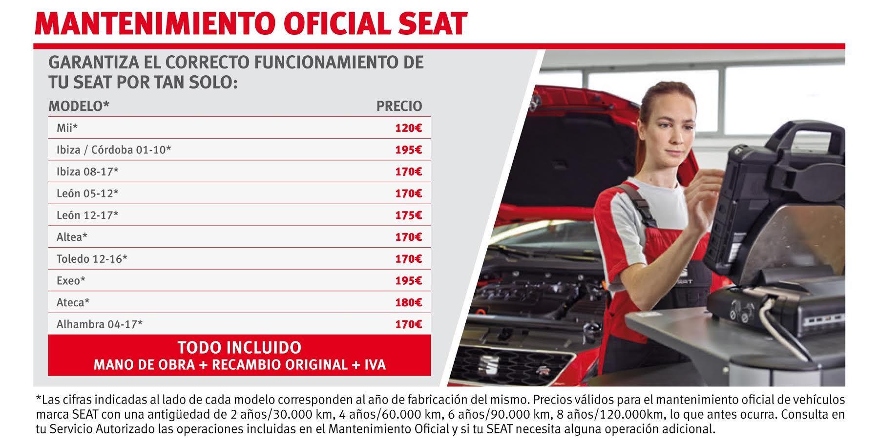 MANTENIMIENTO OFICIAL SEAT. 2017
