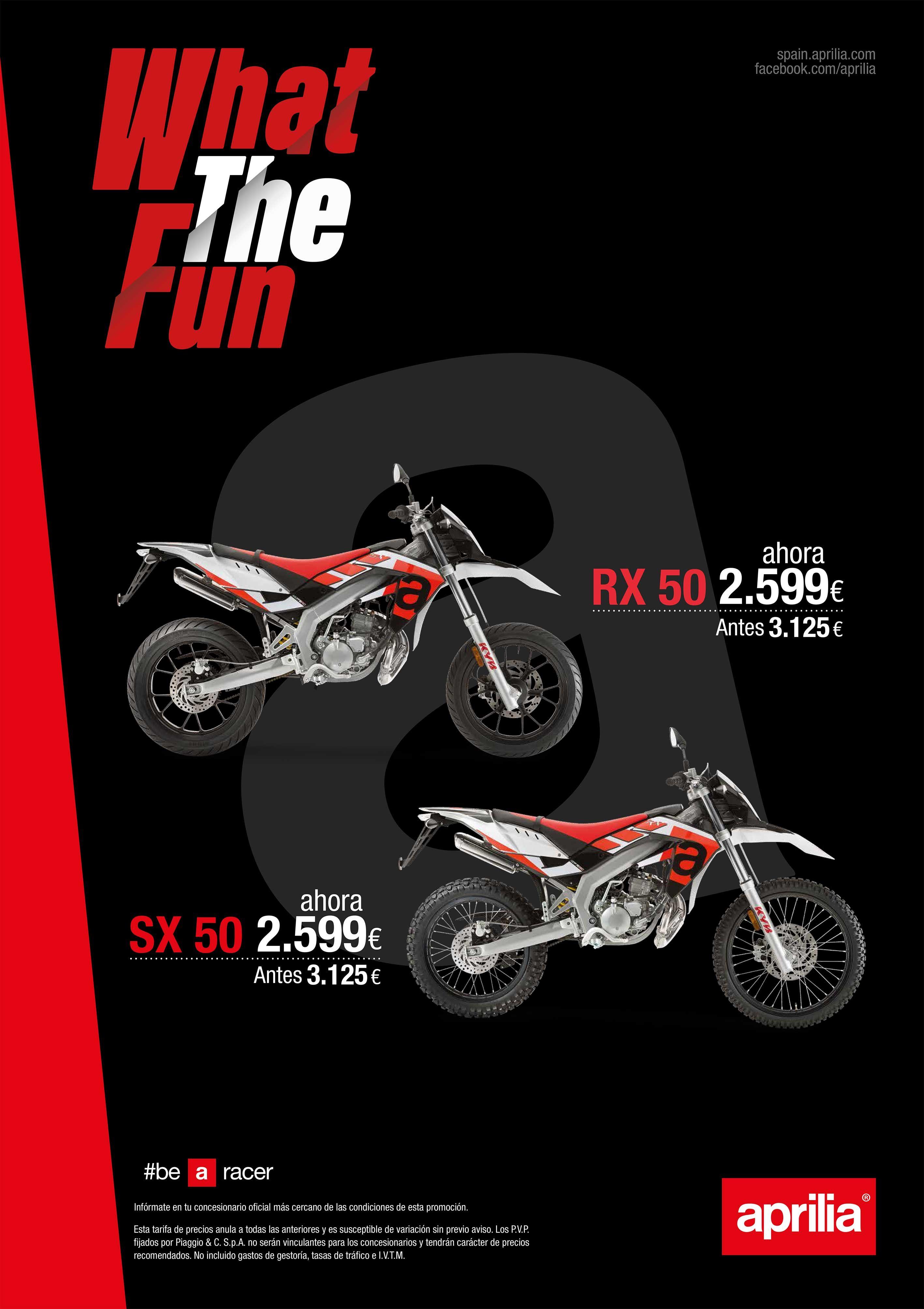 Promoción Aprilia SX 50 y Aprilia RX 50 por 2.599 hasta el 30 de Septiembre