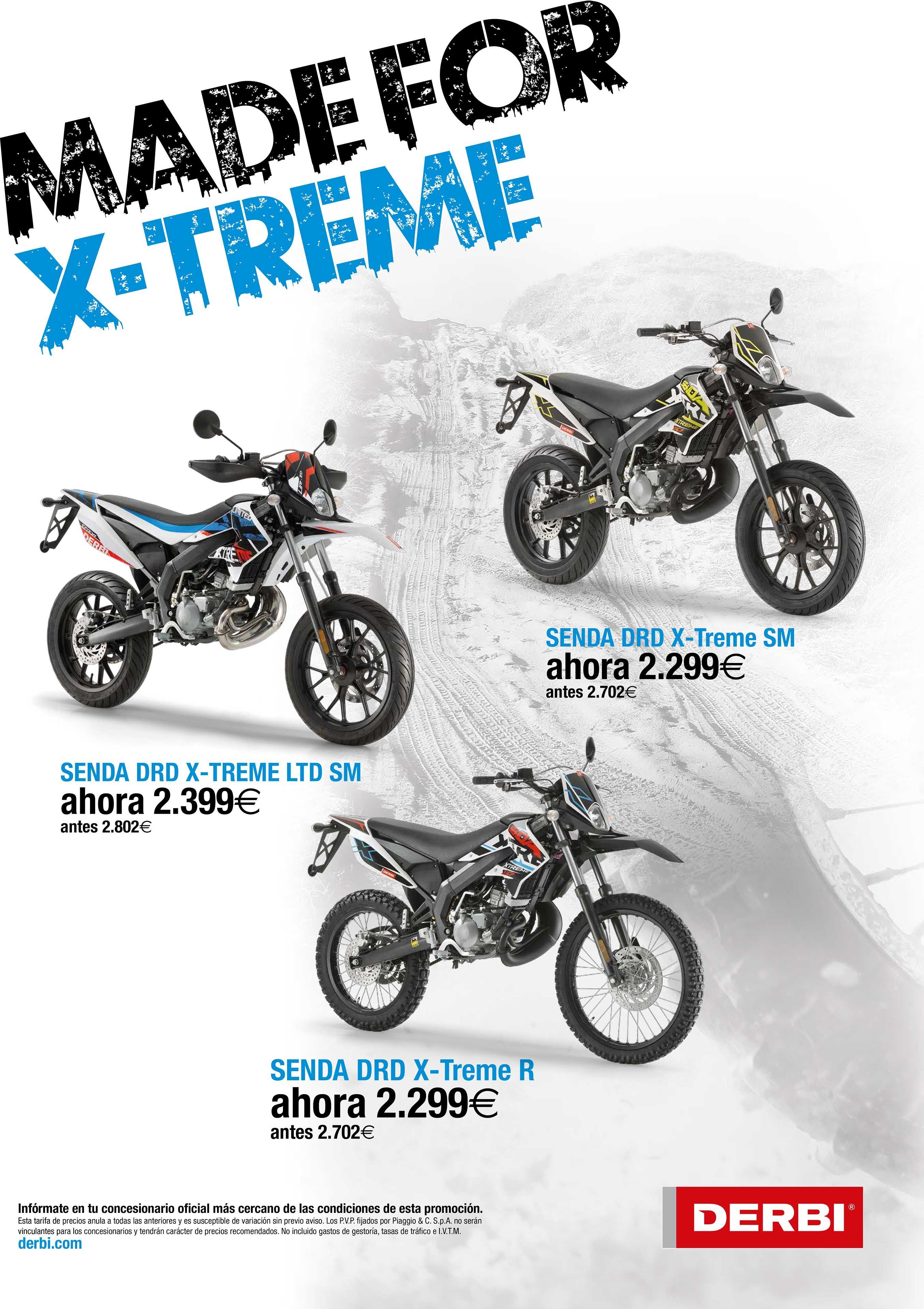 Promoción Derbi Senda DRD X-treme desde 2.299€ hasta el 30 de Septiembre