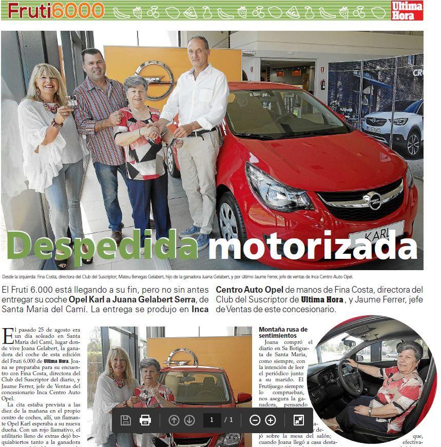 UN AÑO MÁS OPEL INCA CENTRO AUTO HACE ENTREGA DEL OPEL KARL EN EL FRUTI 6000 DE ULTIMA HORA