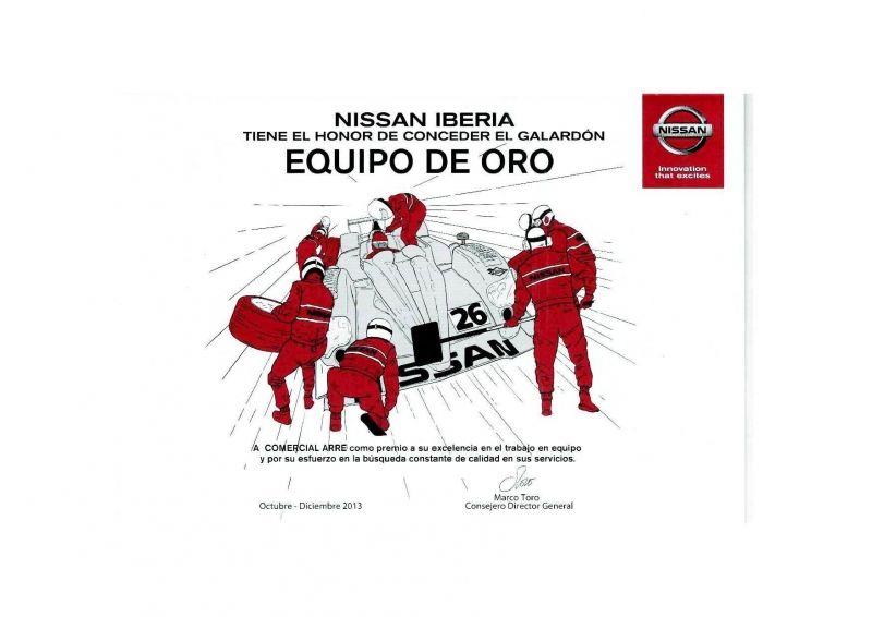 Comercial Arre Motor recibe por segundo trimestre consecutivo el galardón del EQUIPO DE ORO