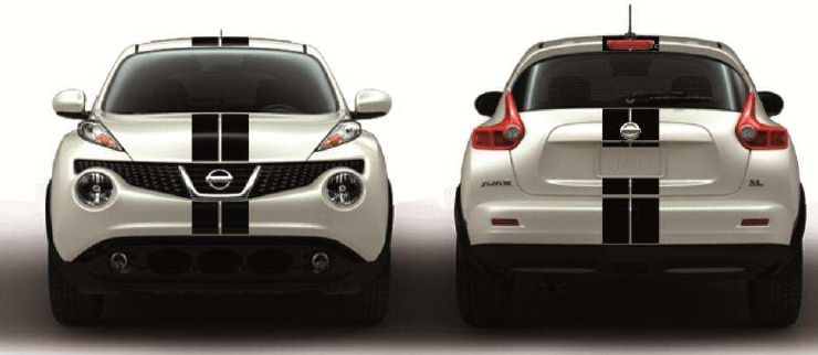 ¡OFERTA! 2 FRANJAS RACING SUPERIORES EN COLOR NEGRO JUKE 49€
