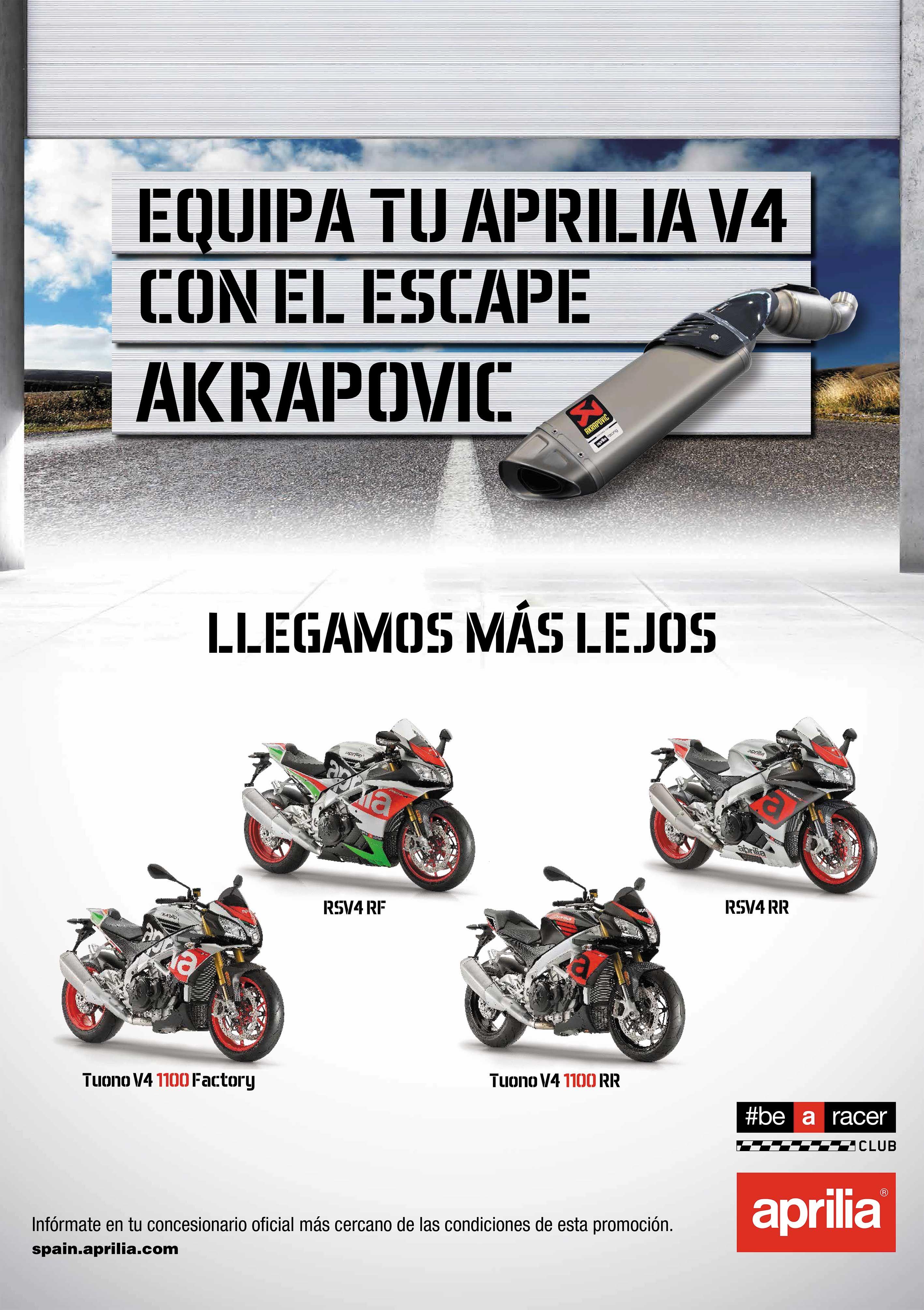 Promoción Aprilia V4 ahora con escape Akrapovic totalmente gratis