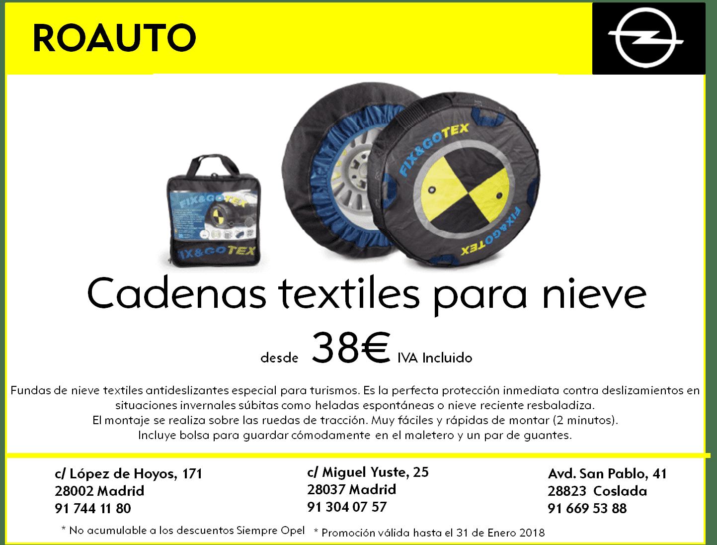 Cadenas textiles para nieve desde 38€ IVA Incluido