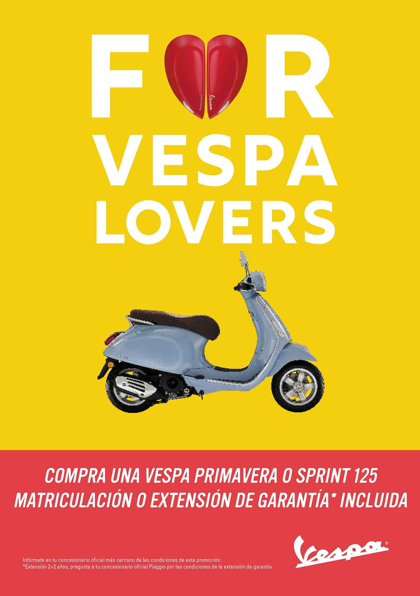 Vespa Primavera o Vespa Sprint 125 con matrículación o extension de garantía gratis hasta Marzo