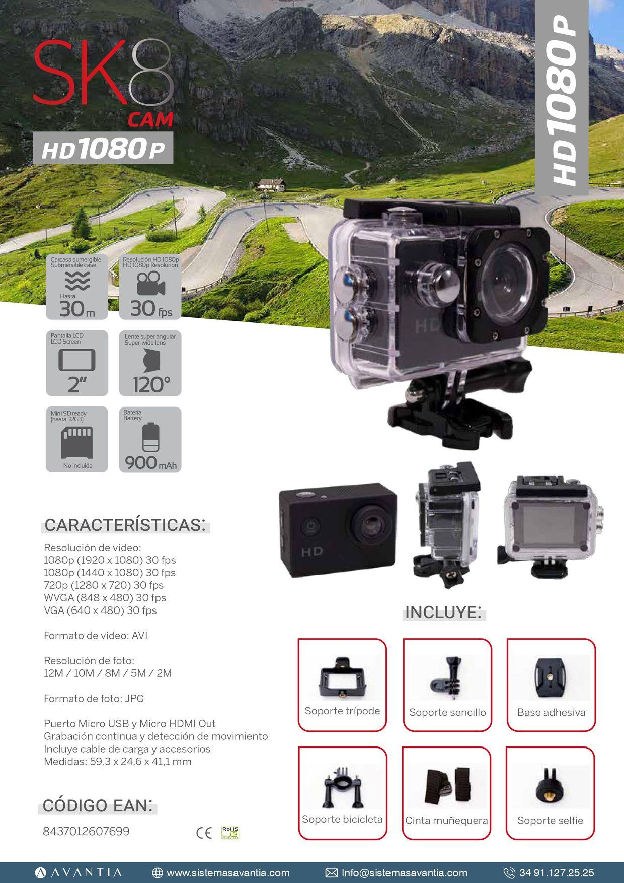 CÁMARA DE ACCIÓN  SK8 HD1080 POR SOLO 39.90€