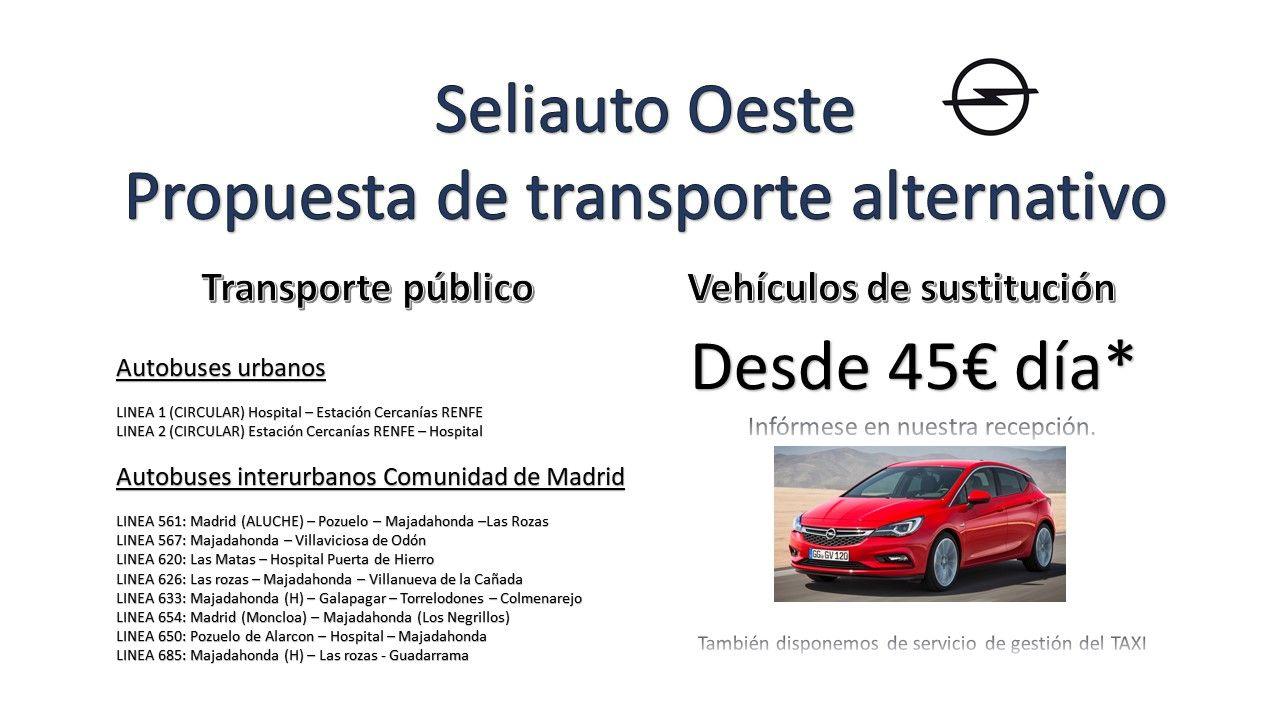 Ofertas de transporte alternativo: Autobus, TAXI, Vehículos de sustitución