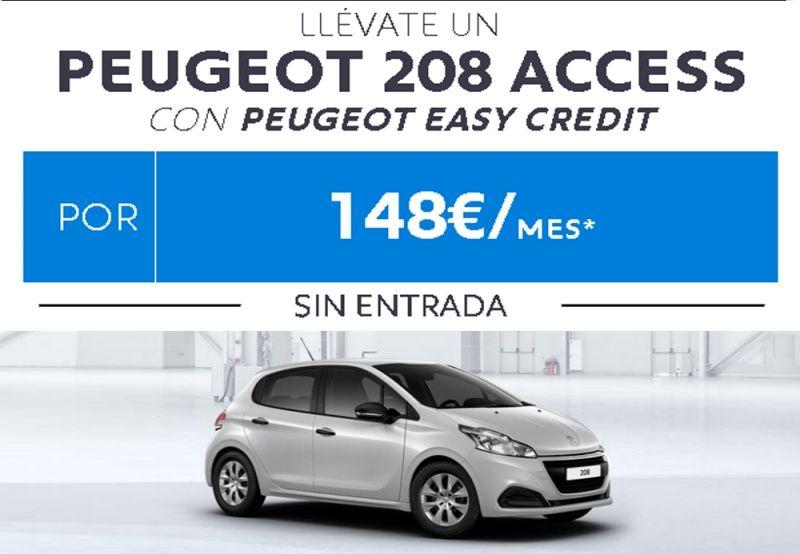 LLEVATE UN PEUGEOT 208 POR 148€ / MES , SIN ENTRADA, CON CUATRO AÑOS DE GARANTIA