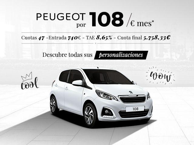 PEUGEOT 108 por 108€ al mes en Automóviles Torregrosa