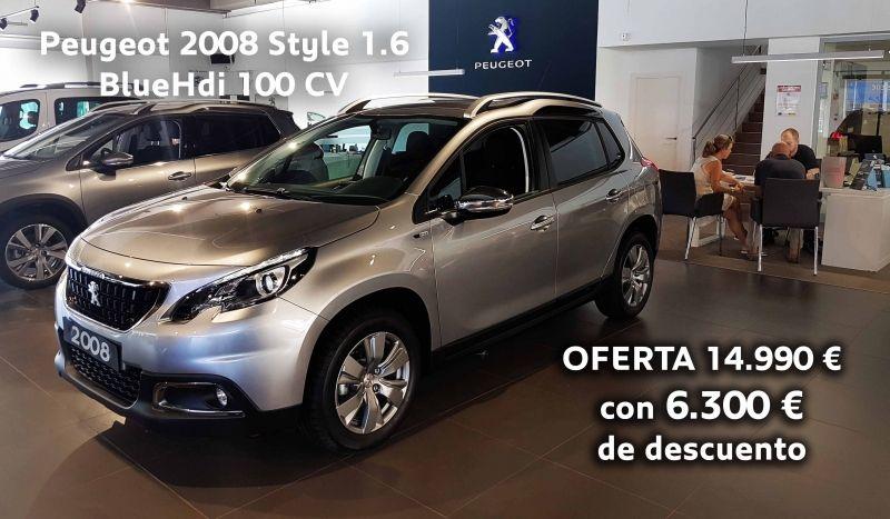 Peugeot 2008 Style 1.6 BlueHdi 100 CV OFERTA 14.990 € con 6.300 € de descuento