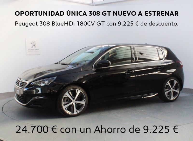 OPORTUNIDAD ÚNICA 308 GT NUEVO A ESTRENAR Peugeot 308 BlueHDi 180CV GT con 9.225 € de descuento.
