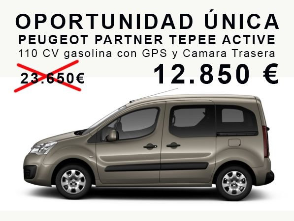 OPORTUNIDAD ÚNICA PEUGEOT PARTNER TEPEE ACTIVE 110 CV gasolina con GPS y Camara Trasera