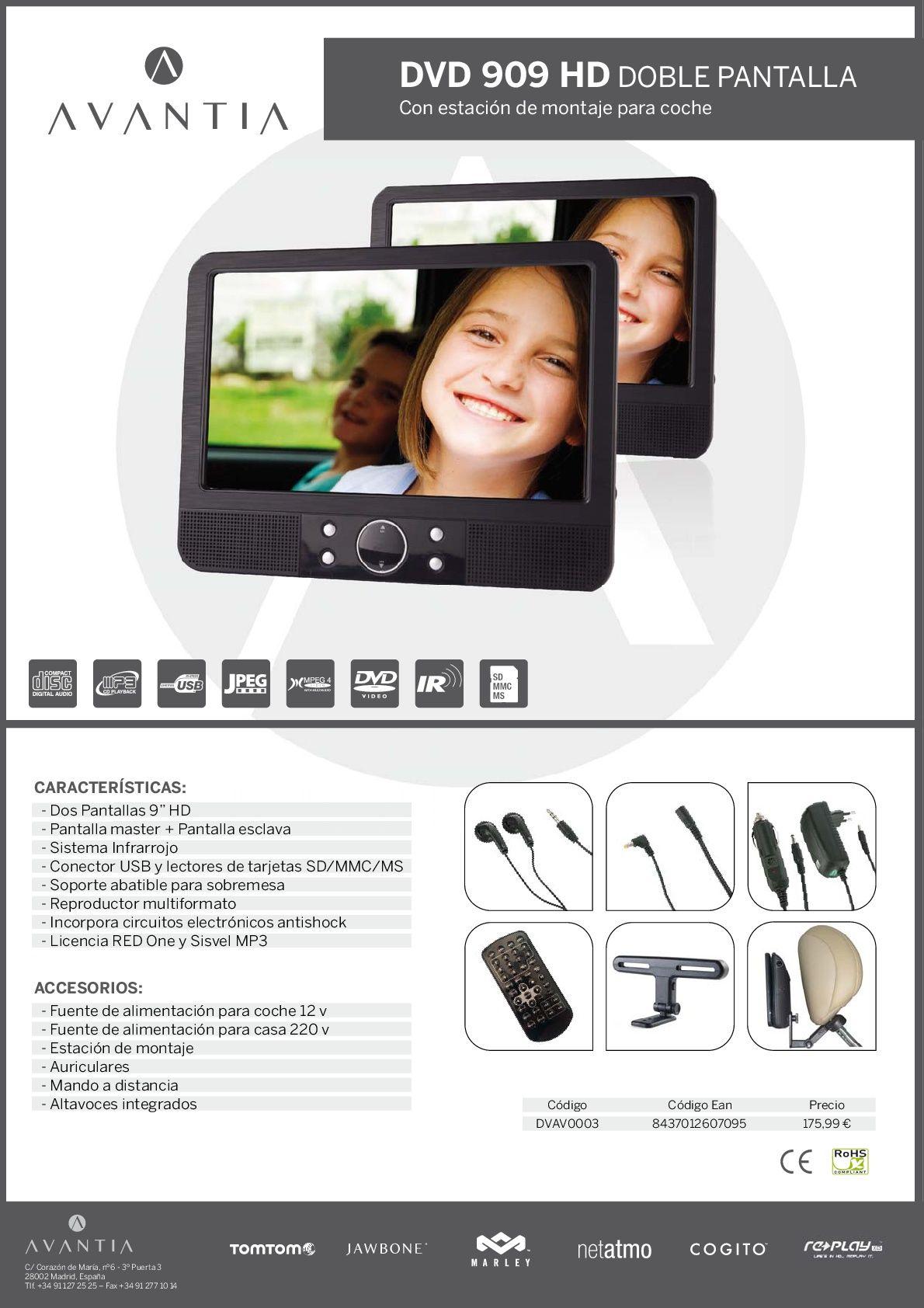 DVD AVANTIA 909 HD CON DOBLE PANTALLA Y ESTACIÓN DE MONTAJE         PVP: 169,00€