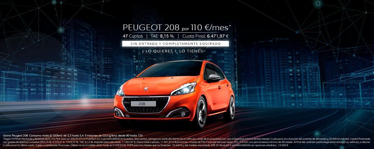 PEUGEOT 208 POR 110€ MES SIN ENTRADA