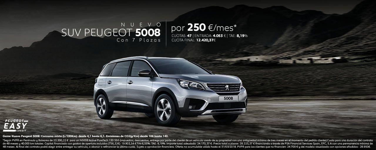 CONDUCE EL NUEVO SUV PEUGEOT 5008 POR SÓLO 250€/MES