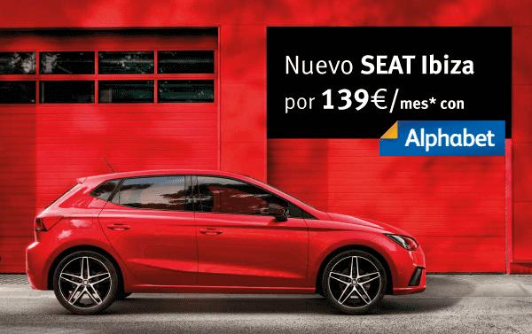 Alphabet, renting empresas, autónomos y particulares. SEAT Ibiza con cuota mensual de 139€/mes* ¡Sin entrada!