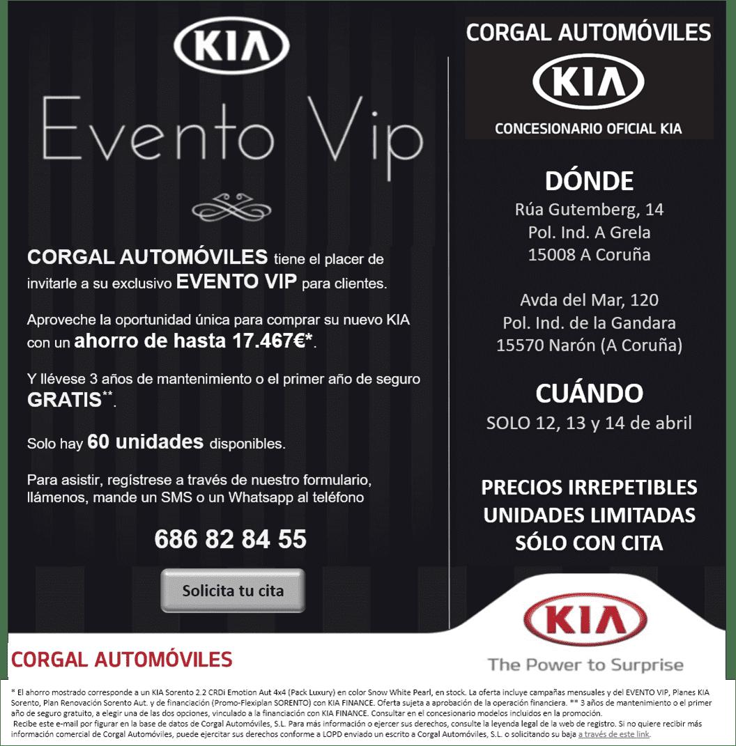 VUELVE EL EVENTO VIP A CORGAL AUTOMÓVILES LOS DÍAS 12, 13 Y 14 DE ABRIL