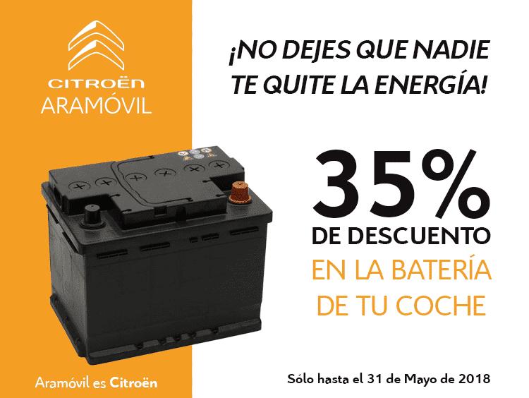 Descuento del 35% en la bateria de tu coche