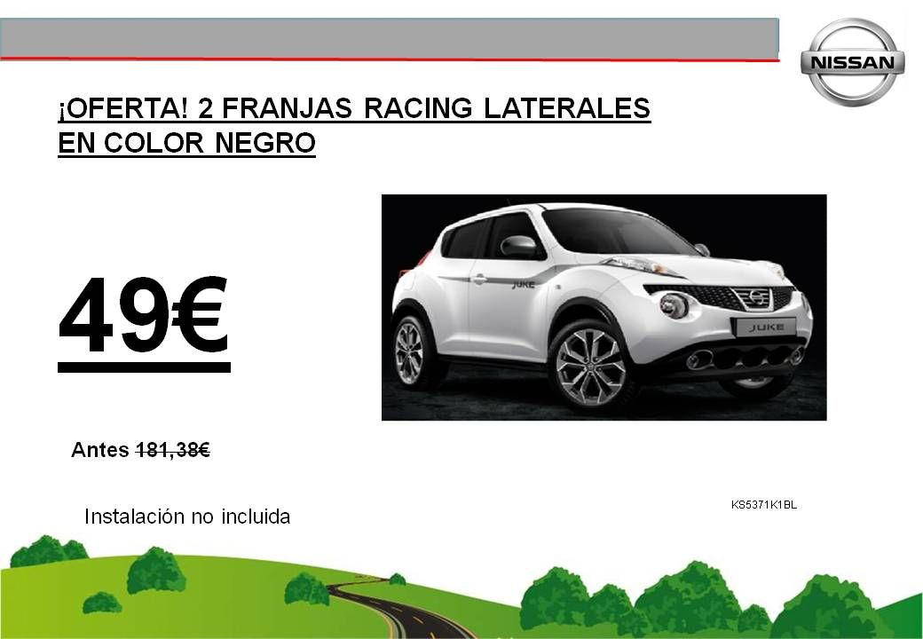 ¡OFERTA! 2 FRANJAS RACING LATERALES EN COLOR NEGRO JUKE - 49€