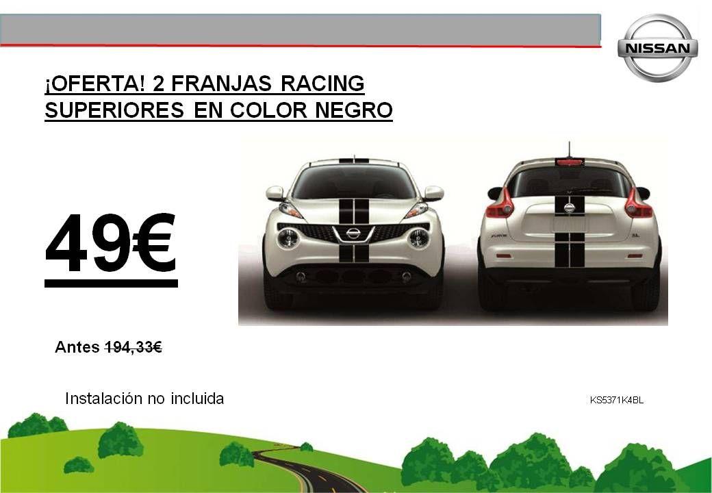¡OFERTA! 2 FRANJAS RACING SUPERIORES EN COLOR NEGRO JUKE - 49€