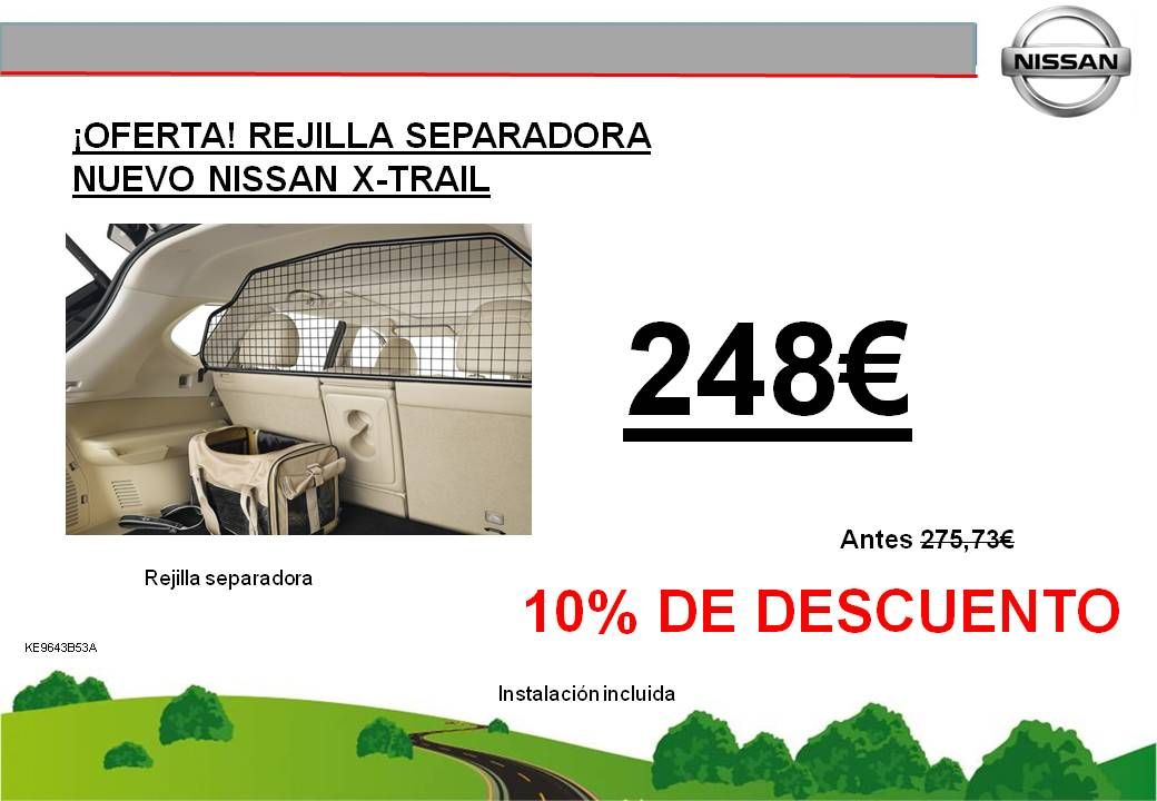 ¡OFERTA! REJILLA SEPARADORA NUEVO NISSAN X-TRAIL - 248€