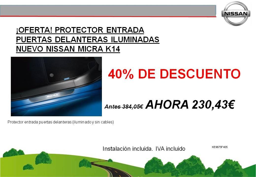¡OFERTA! PROTECTOR DE ENTRADA ILUMINADO DE PUERTAS DELANTERAS PARA EL NUEVO NISSAN MICRA K14 - 230,43€