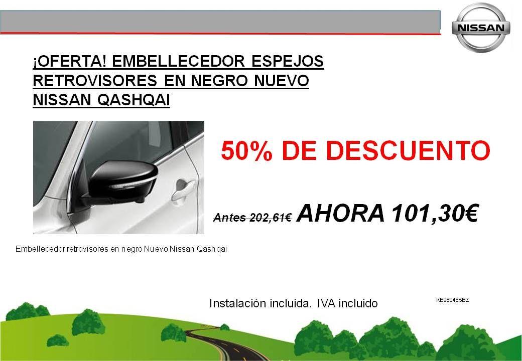 ¡OFERTA! EMBELLECEDOR ESPEJOS RETROVISORES EN NEGRO NUEVO NISSAN QASHQAI - 101,30€