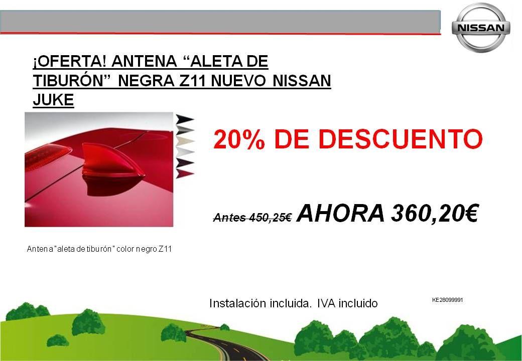 """¡OFERTA! ANTENA """"ALETA DE TIBURÓN"""" NEGRA Z11 NUEVO NISSAN JUKE - 360,20€"""