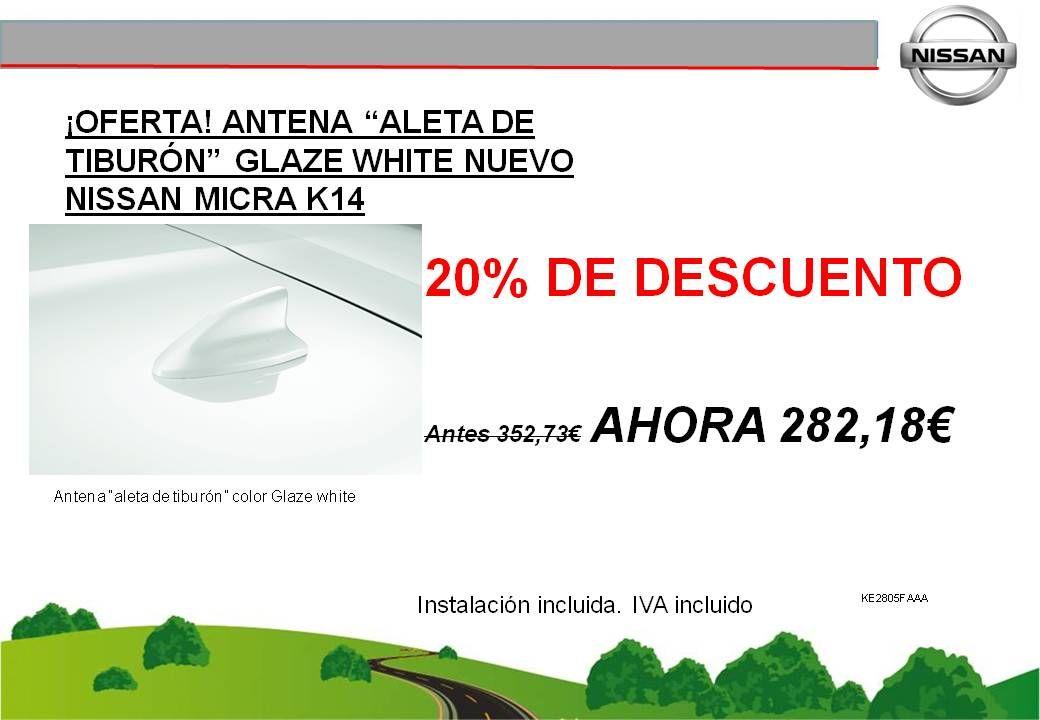 """¡OFERTA! ANTENA """"ALETA DE TIBURÓN"""" GLAZE WHITE NUEVO NISSAN MICRA K14 - 282,18€"""