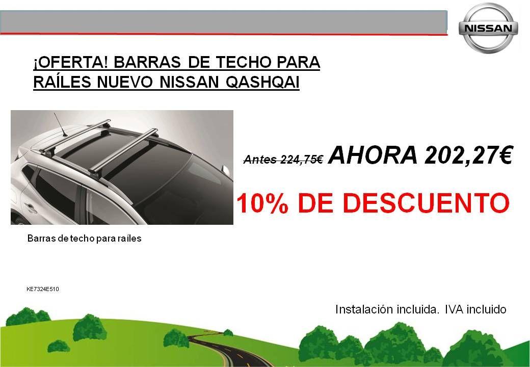 ¡OFERTA! BARRAS DE TECHO PARA RAÍLES NUEVO NISSAN QASHQAI - 202,27€