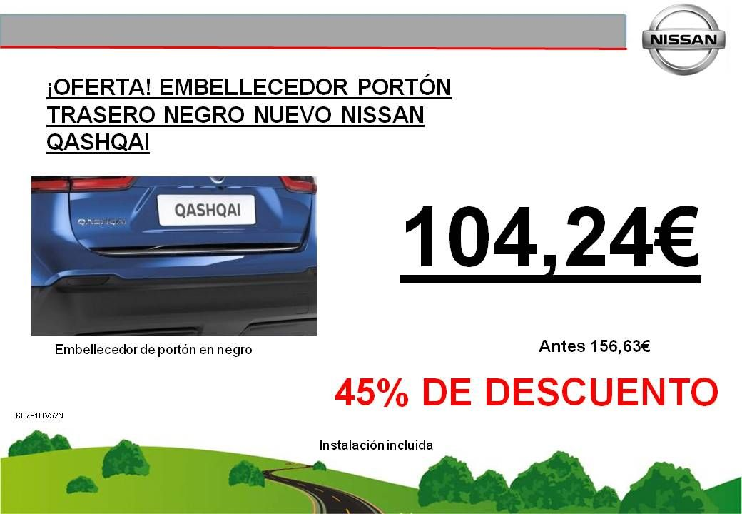 ¡OFERTA! EMBELLECEDOR PORTÓN TRASERO NEGRO NUEVO NISSAN QASHQAI - 104,24€