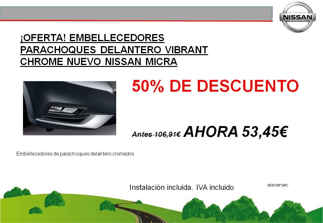 ¡OFERTA! EMBELLECEDORES PARACHOQUES DELANTERO VIBRANT CHROME NUEVO NISSAN MICRA K14 - 53,45€