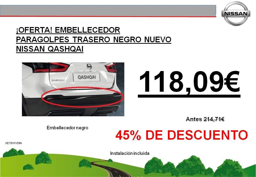 ¡OFERTA! EMBELLECEDOR PARACHOQUES TRASERO EN NEGRO NUEVO NISSAN QASHQAI - 118,09€