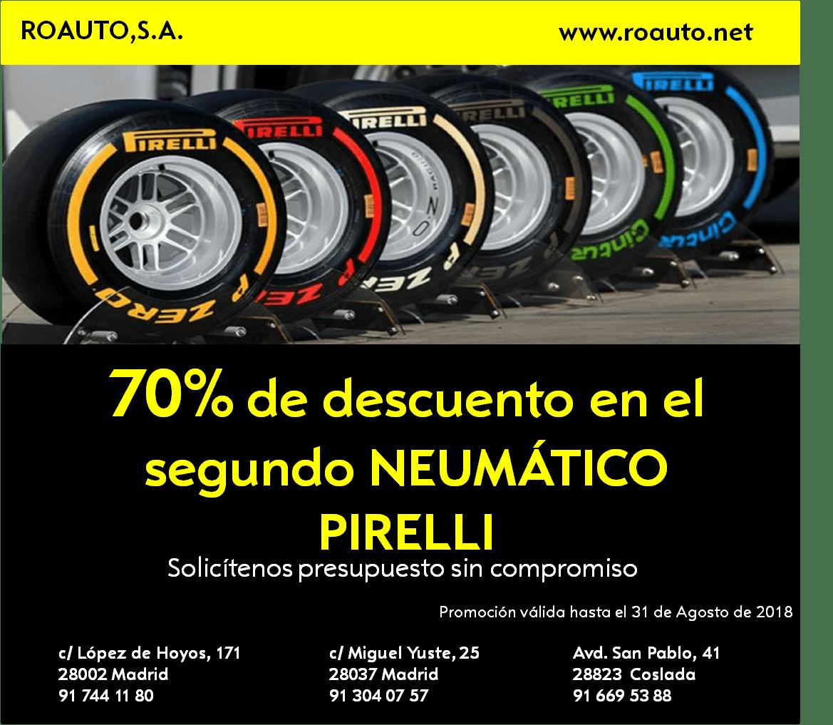 70 %  de descuento en el segundo neumático Pirelli