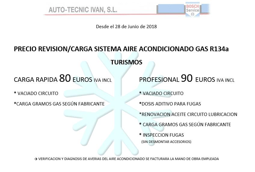 OFERTA REVISIÓN Y CARGA AIRE ACONDICIONADO TURISMOS