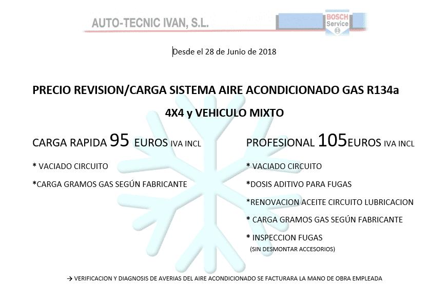 OFERTA REVISIÓN Y CARGA AIRE ACONDICIONADO 4x4 y VEHÍCULO MIXTO