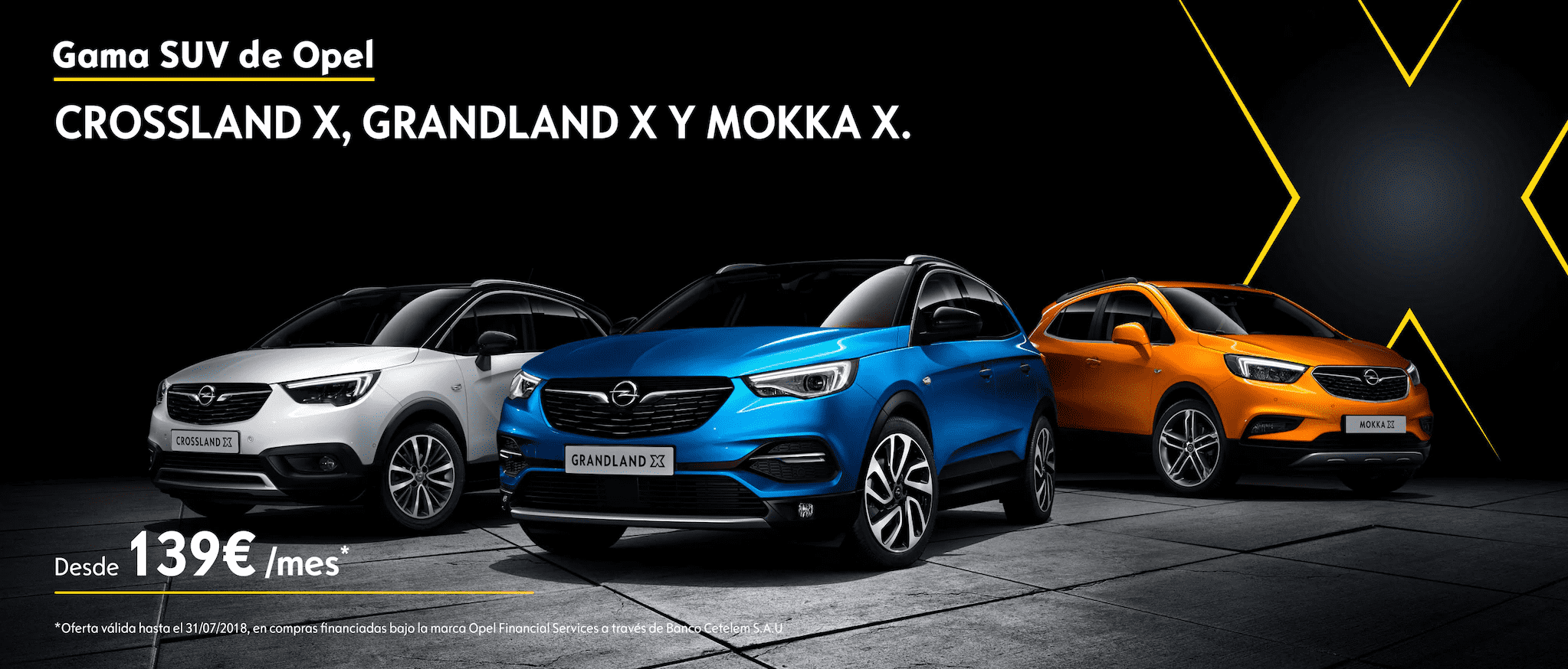 Gama SUV de Opel: CROSSLAND X, GRANDLAND X Y MOKKA X, desde 139€/mes*.