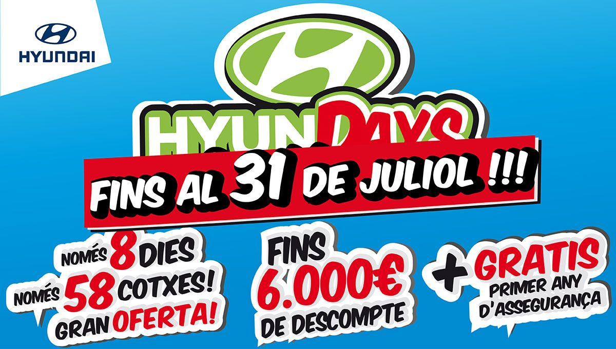 [Prorrogado hasta el 31 de julio] Vuelven los 'HyunDAYS' en Augusta Car Hyundai. 8 dias más, 58 coches más a precios espectaculares