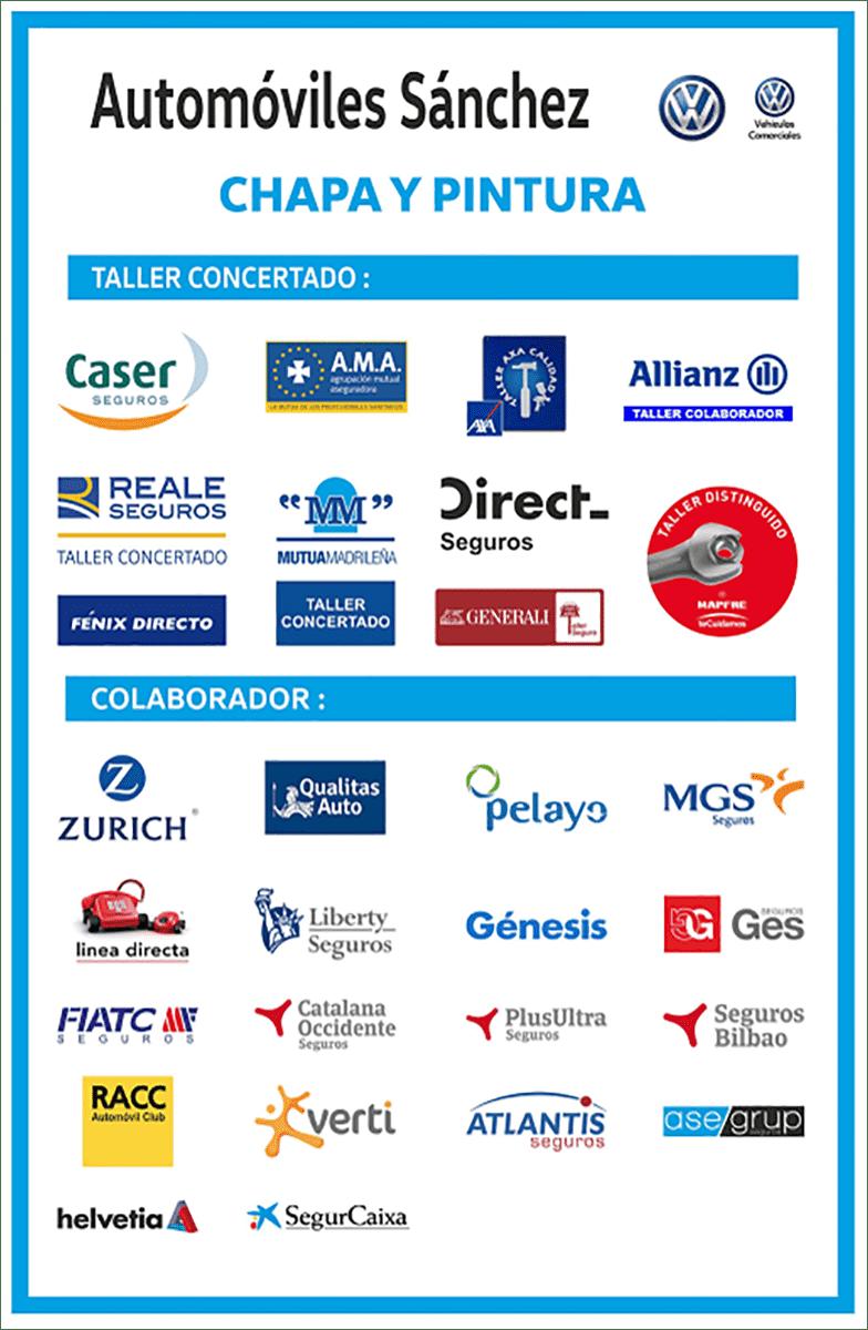Automóviles Sánchez, taller concertado con las principales compañías aseguradoras