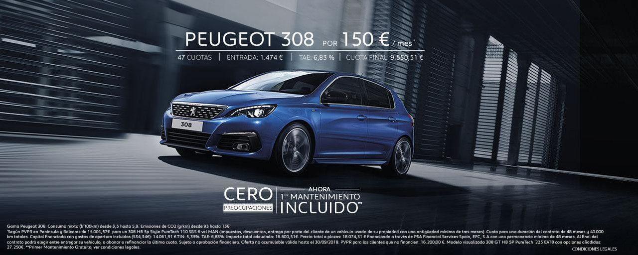 Peugeot 308 con mantenimiento gratis