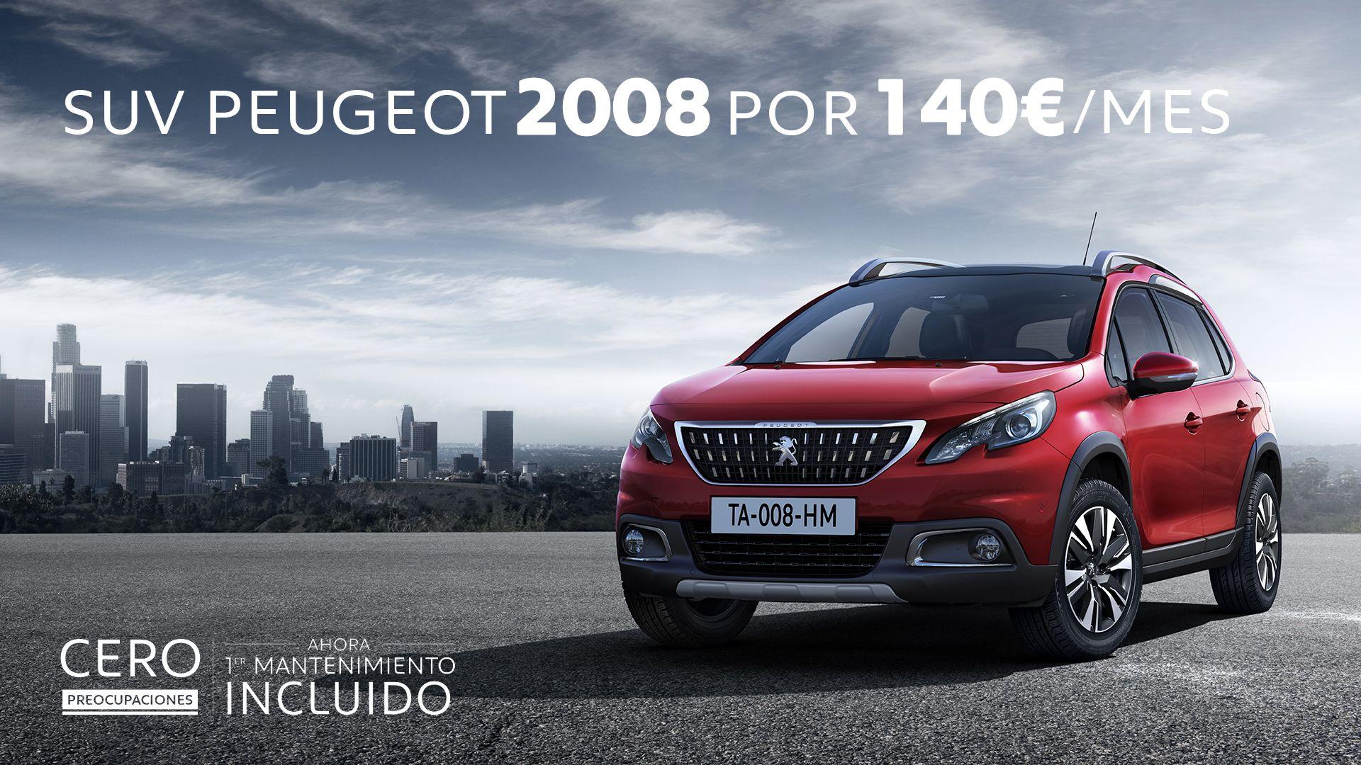 Estrena un Peugeot 2008 con mantenimiento por sólo 140€/mes
