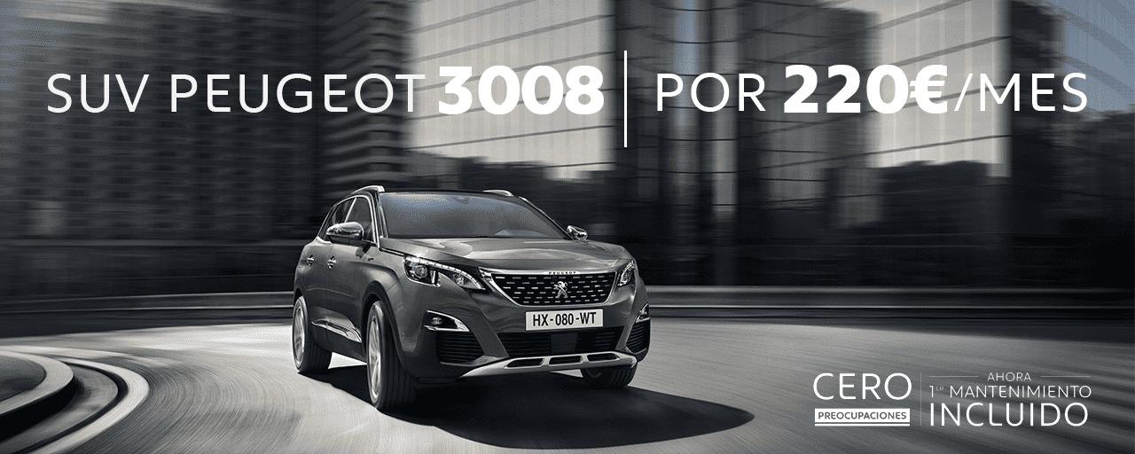 SUV Peugeot 3008 por 220€ al mes