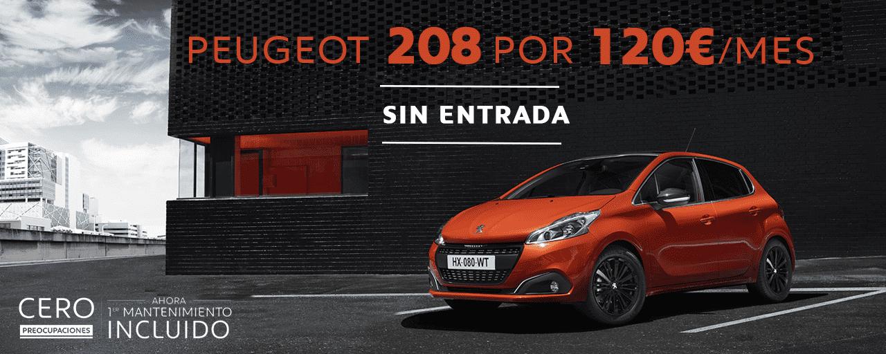 Conduce un Peugeot 208 por 120€/mes sin entrada