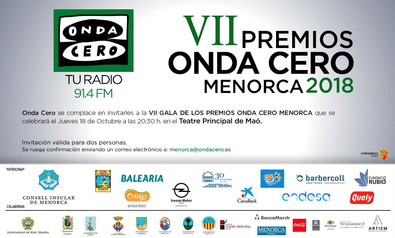 PREMIOS ONDA CERO MENORCA 2018