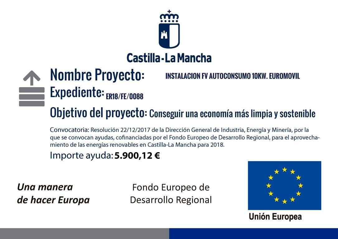 Instalación Fotovoltaica cofinanciada la Junta de Comunidades de Castilla la Mancha y la Unión Europea (Fondo Europeo de Desarrollo Regional)