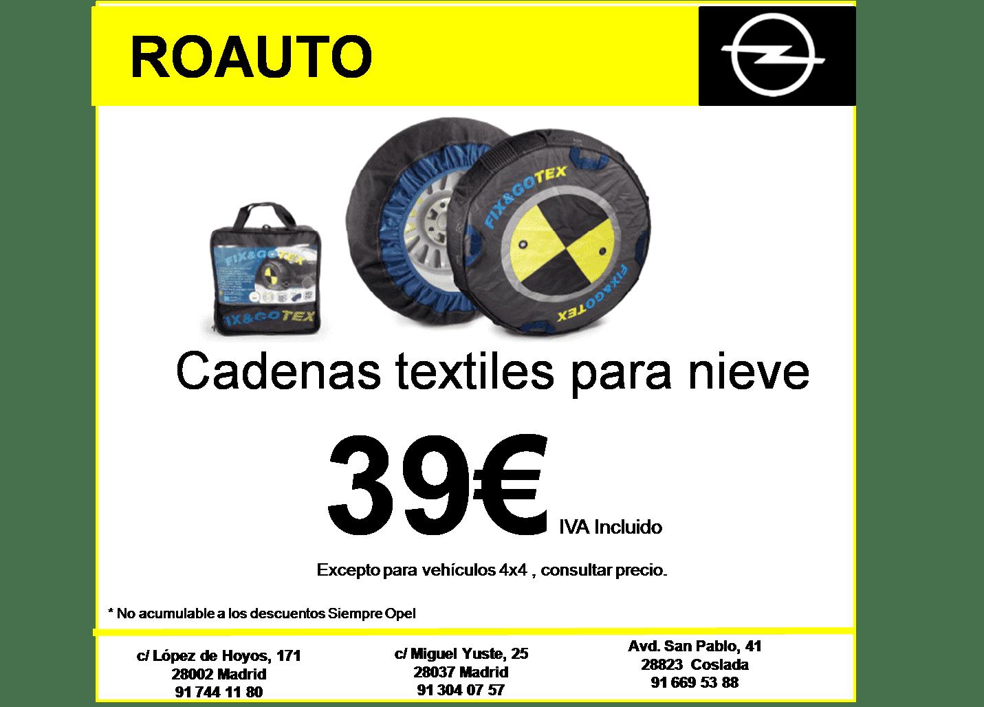Cadenas textiles para nieve 39€ IVA Incluido