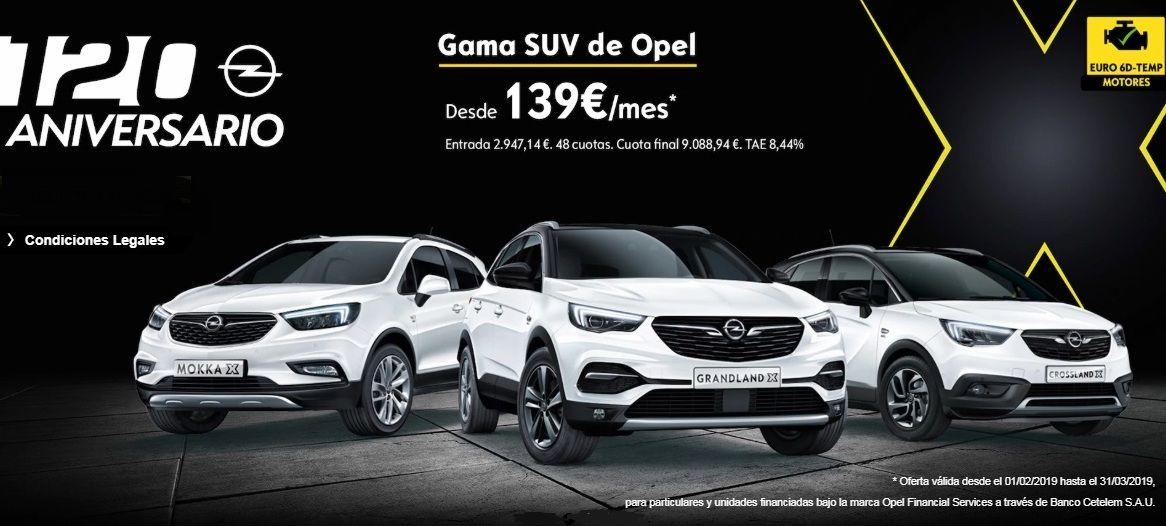 GAMA SUV DE OPEL DESDE 139€/MES*