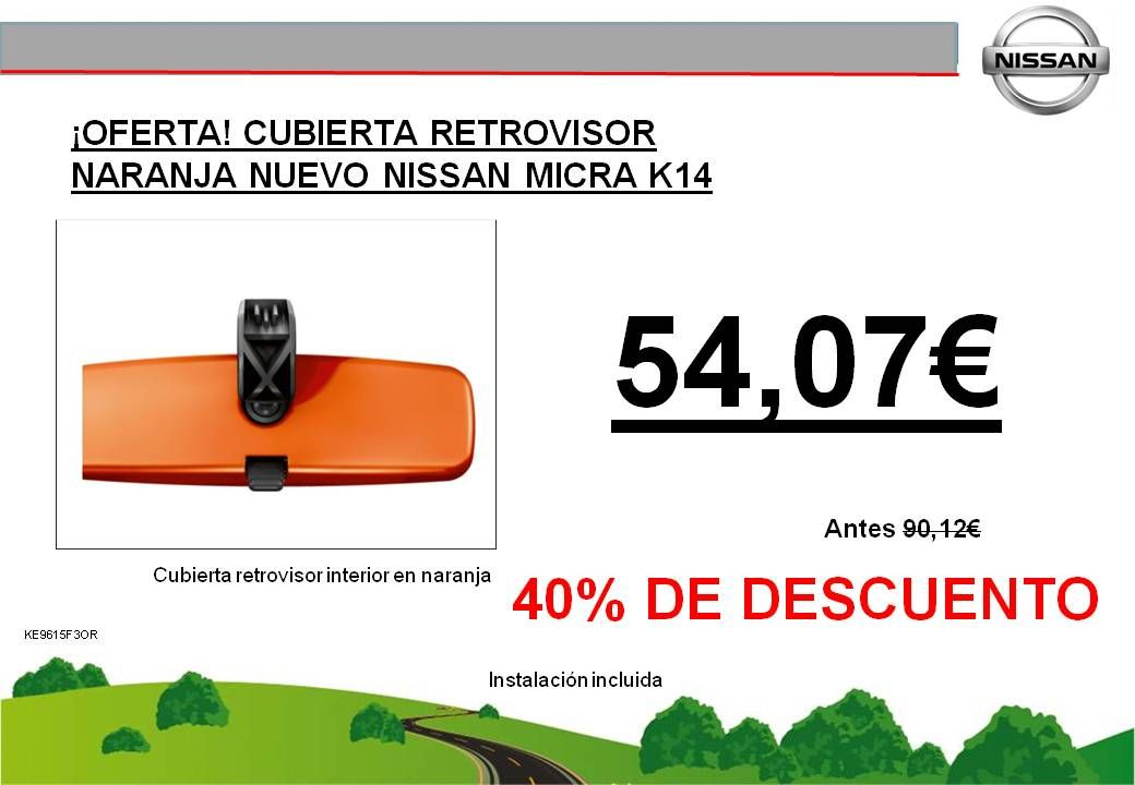 ¡OFERTA! CUBIERTA RETROVISOR NARANJA NUEVO NISSAN MICRA K14 - 54,07€