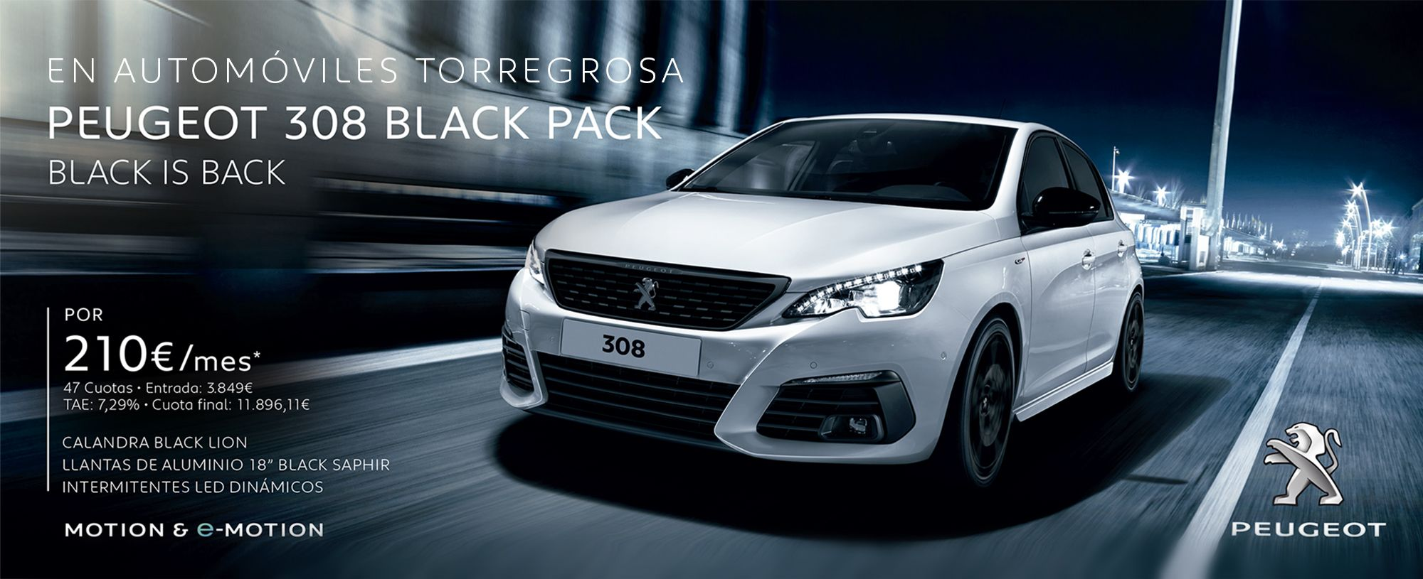 PEUGEOT 308 BLACK PACK BLACK IS BACK por 210€/mes*