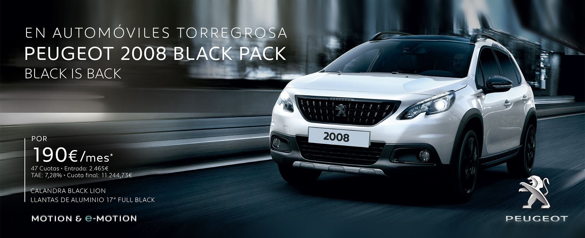 PEUGEOT 2008 BLACK PACK BLACK IS BACK  por 190€/mes*